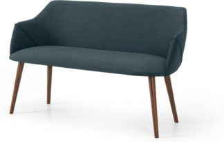An Image of Lule Dining Bench, Aegean Blue & Walnut Leg