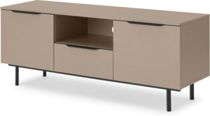 An Image of Damien Wide Media Unit, Cappuccino & Black