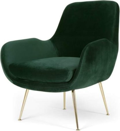 An Image of Moby Accent Armchair, Pine Green Velvet