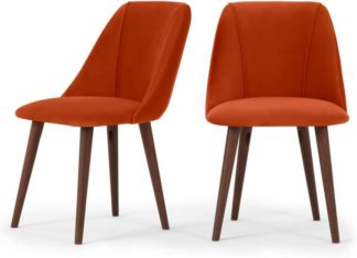 An Image of Lule Set of 2 Dining Chairs, Flame Orange Velvet
