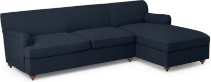 An Image of Orson Right Hand Facing Chaise End Sofa Bed, Dark Blue Weave