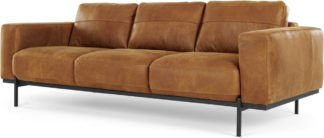 An Image of Jarrod 3 Seater Sofa, Outback Tan Leather