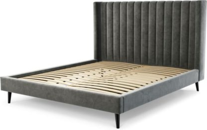 An Image of Custom MADE Cory Super King size Bed, Steel Grey Velvet with Black Stained Oak Legs