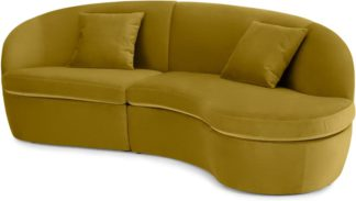 An Image of Reisa Right Hand Facing Chaise End Sofa, Vintage Gold Velvet