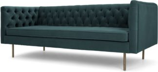 An Image of Julianne 3 Seater Sofa, Petrol Cotton Velvet
