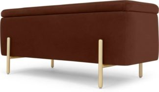 An Image of Asare 110cm Upholstered Ottoman Storage Bench, Warm Caramel Velvet & Brass