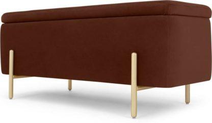 An Image of Asare 110cm Upholstered Ottoman Storage Bench, Warm Caramel Velvet & Brass