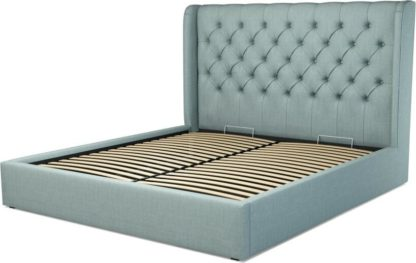 An Image of Custom MADE Romare Super King size Bed with Ottoman, Sea Green Cotton
