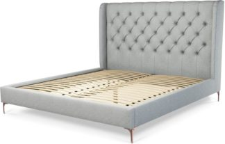 An Image of Custom MADE Romare Super King size Bed, Wolf Grey Wool with Copper Legs