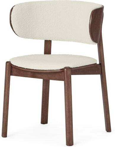 An Image of Byrom Dining Chair, Whitewash Boucle & Walnut