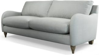 An Image of Custom MADE Sofia 3 Seater Sofa, Athena Dove Grey with Light Wood Leg