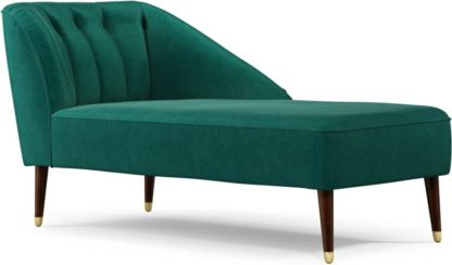 An Image of Margot Right Hand Facing Chaise Longue, Teal Cotton Velvet with Dark Wood Brass Leg