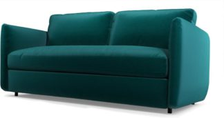 An Image of Fletcher 3 Seater Sofabed with Memory Foam Mattress, Tuscan Teal Velvet