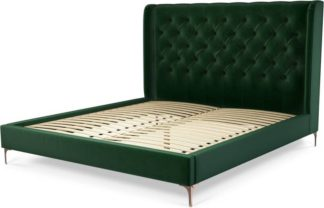 An Image of Custom MADE Romare Super King size Bed, Bottle Green Velvet with Copper Legs