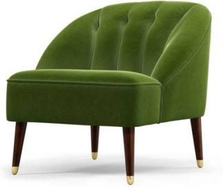 An Image of Margot Accent Armchair, Spruce Green Cotton Velvet