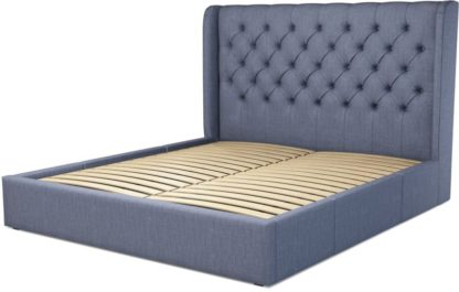 An Image of Custom MADE Romare Super King size Bed with Drawers, Denim Cotton