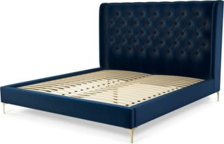 An Image of Custom MADE Romare Super King size Bed, Regal Blue Velvet with Brass Legs