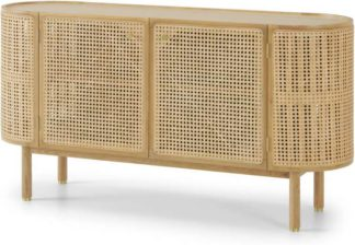 An Image of Ankhara Sideboard, Natural Oak & Rattan