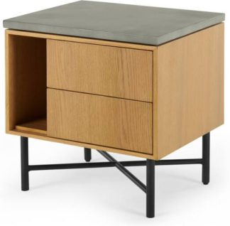 An Image of Dara Bedside Table, Oak & Concrete