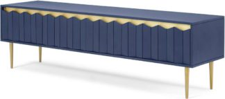 An Image of Talin Wide Media Unit, Blue Stain Mango Wood & Brass