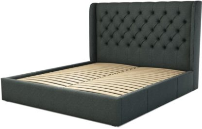An Image of Custom MADE Romare Super King size Bed with Drawers, Etna Grey Wool
