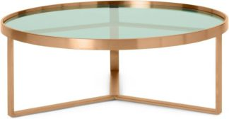 An Image of Aula Coffee Table, Brushed Copper & Green Glass