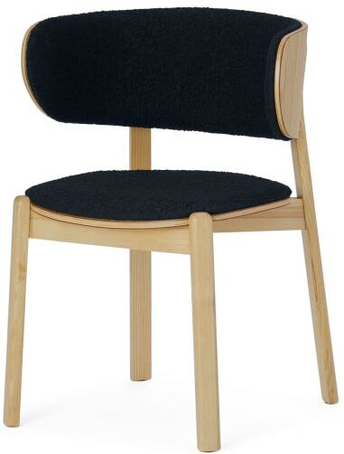 An Image of Byrom Dining Chair, Black Boucle & Oak Finish