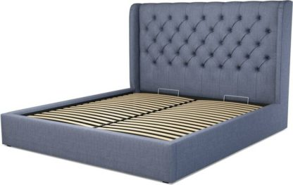 An Image of Custom MADE Romare Super King size Bed with Ottoman, Denim Cotton