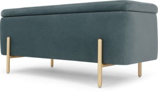 An Image of Asare 110cm Upholstered Ottoman Storage Bench, Marine Green Velvet and Brass