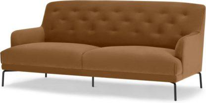 An Image of Attwood 3 Seater Sofa, Golden Amber Velvet