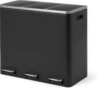 An Image of Colter 54L, Soft Close Triple Recycling Pedal Bin, x3 18L, Black