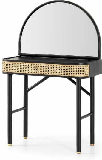 An Image of Ankhara Dressing Table, Rattan & Black Stain Oak