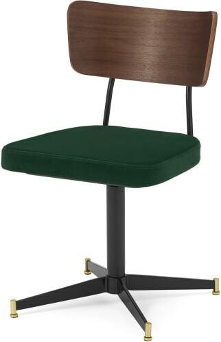 An Image of Amalyn Office Chair, Pine Green Velvet & Walnut