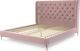 An Image of Custom MADE Romare Super King size Bed, Heather Pink Velvet with Copper Legs