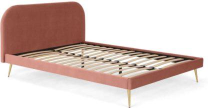 An Image of Eulia King Size Bed, Blush Pink Velvet & Brass Legs