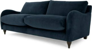 An Image of Sofia 3 Seater Sofa, Plush Indigo Velvet