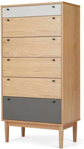 An Image of Campton Tall Multi Chest of Drawers, Oak & Grey