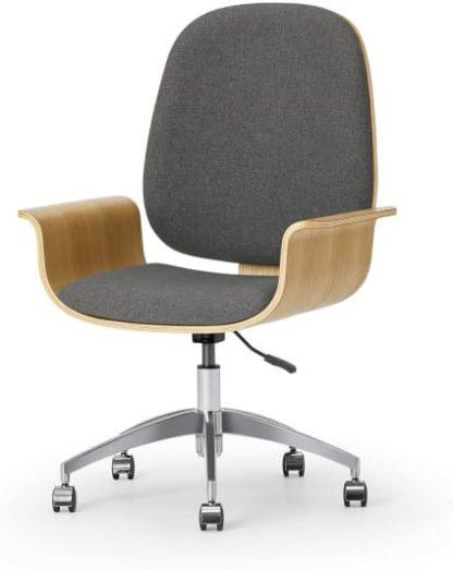 An Image of Saul Office Chair, Oak & Marl Grey