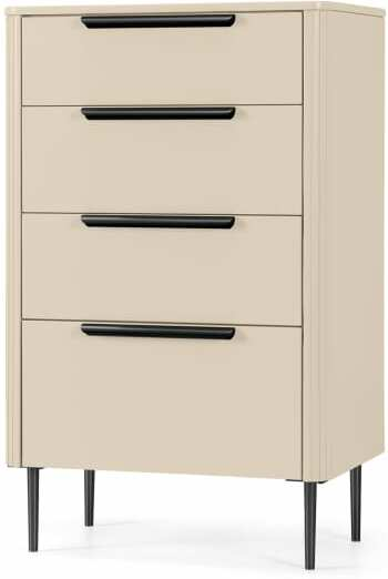 An Image of Ebro Tall Chest of Drawers, Ivory White & Black