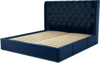 An Image of Custom MADE Romare Super King size Bed with Drawers, Regal Blue Velvet