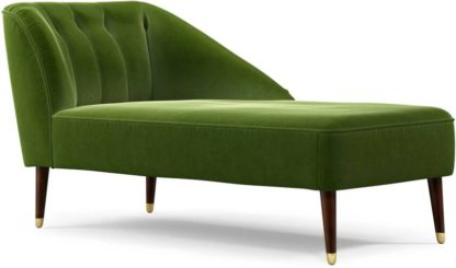 An Image of Margot Right Hand Facing Chaise Longue, Spruce Green Cotton Velvet with Dark Wood Brass Leg