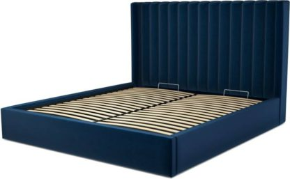 An Image of Custom MADE Cory Super King size Bed with Ottoman, Regal Blue Velvet