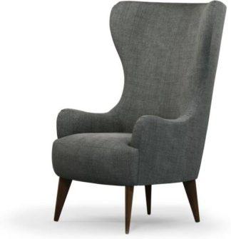 An Image of Bodil Accent Armchair, Steel Grey Velvet with Dark Wood Leg