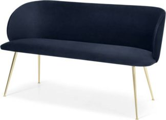 An Image of Adeline Dining bench, Royal Blue Velvet and Brass