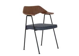 An Image of Case 675 Chair Walnut Dark Grey Seat Black Legs