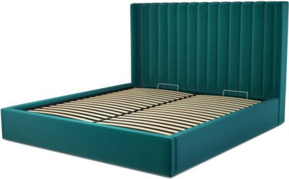 An Image of Custom MADE Cory Super King size Bed with Ottoman, Tuscan Teal Velvet