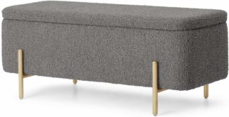 An Image of Asare Storage Ottoman Bench, 110cm, Steel Boucle & Brass Legs