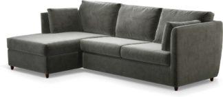 An Image of Milner Left Hand Facing Corner Storage Sofa Bed with Memory Foam Mattress, Steel Grey Velvet