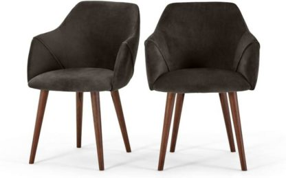 An Image of Set of 2 Lule Carver Dining Chairs, Otter Grey Velvet and Walnut