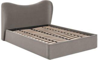 An Image of Kooper Double Ottoman Storage Bed, Alaska Grey Velvet